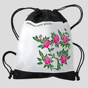 summer-rose-garden-1-pink-roses Drawstring Bag
