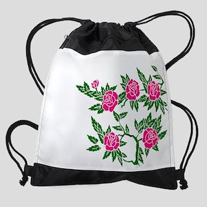rose-garden-1-blk-pink-roses-01TRAN Drawstring Bag