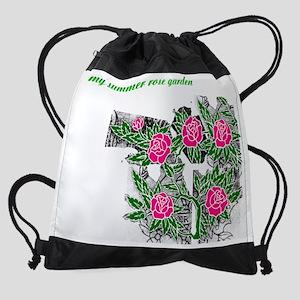 my-summer-rose-garden-1-blk-pink-ro Drawstring Bag