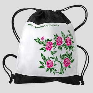 my-summer-rose-garden-1-pink-roses. Drawstring Bag