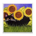 Black CAT & Sunflowers Tile/Coaster