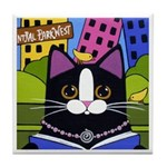 Tuxedo City Kitty Central Park Tile/Coaster