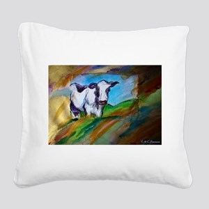 Cow! Bright, animal art! Square Canvas Pillow