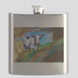 Cow! Bright, animal art! Flask