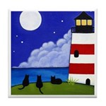 3 Black CATS At Lighthouse Tile/Coaster