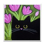 Black Cat & Pink Tulips ART Tile