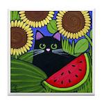 Black CAT in Garden Tile/Coaster