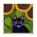 Black CAT Sunflowers Tile/Coaster
