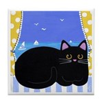 Seaside Black CAT Tile/Coaster