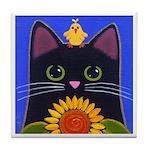 Black CAT Yellow Bird Tile/Coaster