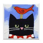 Black CAT Red Bird Tile/Coaster