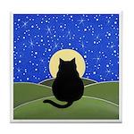 FAT Black CAT Moon Tile/Coaster