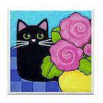 Black CAT On Table Tile/Coaster