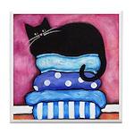 Black CAT On Blue Cushions Tile/Coaster