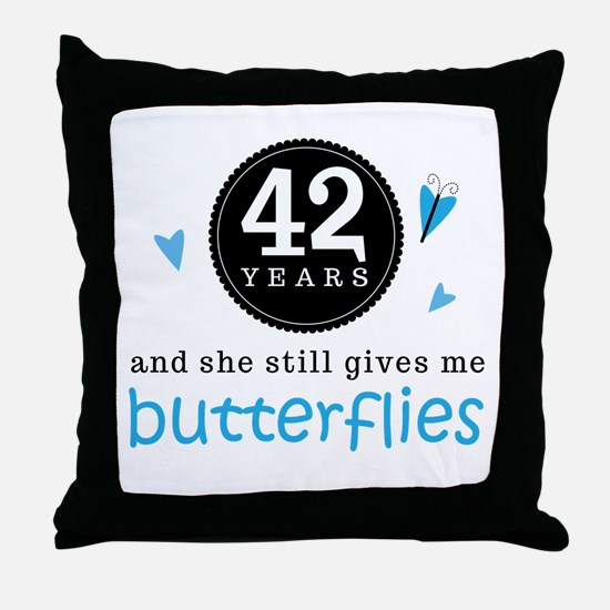 42 Year Anniversary Butterfly Throw Pillow