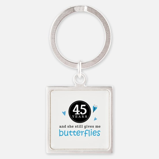 45 Year Anniversary Butterfly Square Keychain