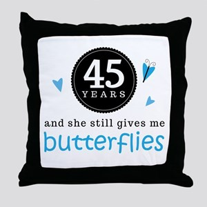 45 Year Anniversary Butterfly Throw Pillow