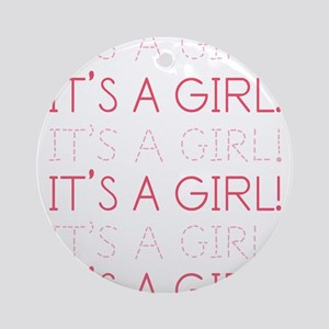 Pink It's a Girl Ornament (Round)