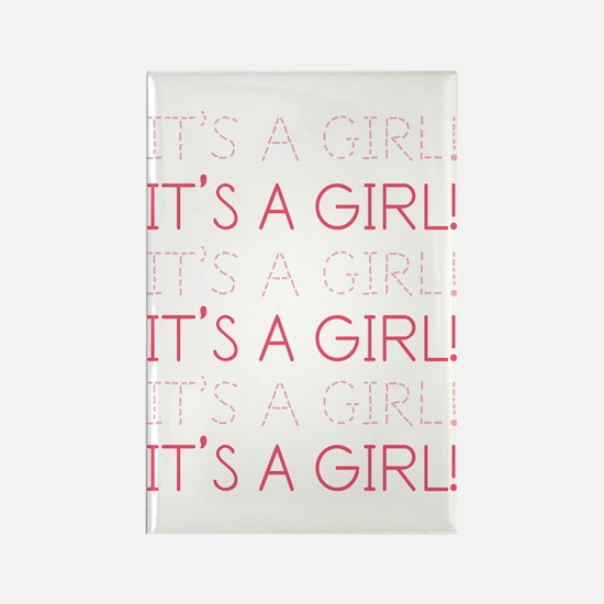 Pink It's a Girl Rectangle Magnet
