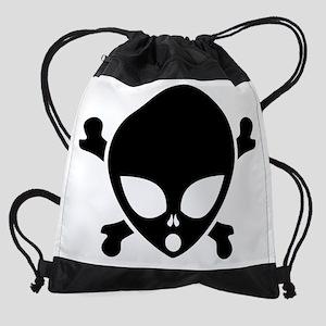 alien_pirate_10x8_trans Drawstring Bag