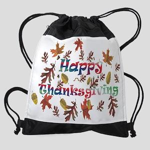 happy thanksgiving Drawstring Bag