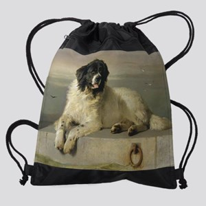 Landseer_blanket_upload Drawstring Bag