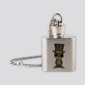Cute Steampunk Baby Sea Lion Flask Necklace