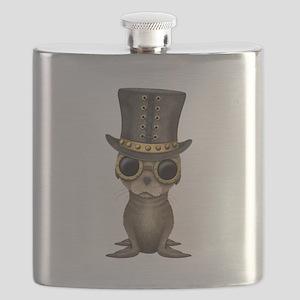 Cute Steampunk Baby Sea Lion Flask