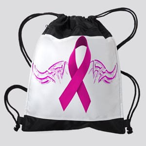 Biker Breast Cancer copy Drawstring Bag