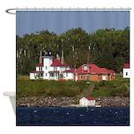 Raspberry Island Lighthouse Shower Curtain