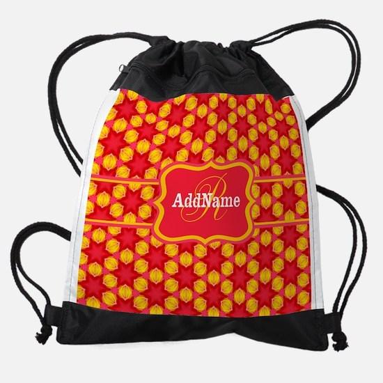 Red Yellow Monogrammed Pattern Drawstring Bag