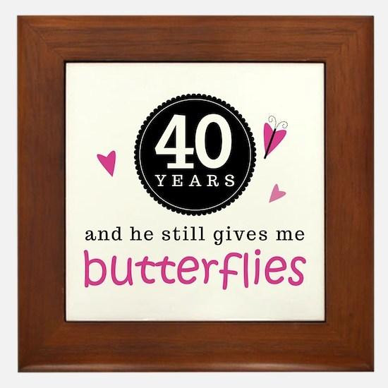 40th Anniversary Butterflies Framed Tile