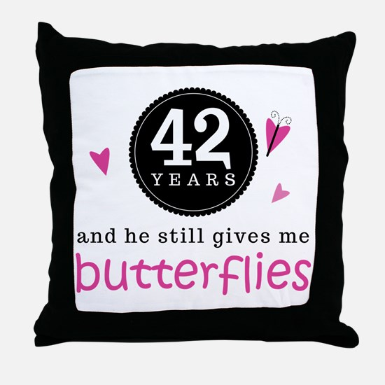 42nd Anniversary Butterflies Throw Pillow