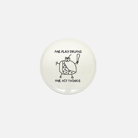 Funny Drummer Me Play Drums Caveman Mini Button