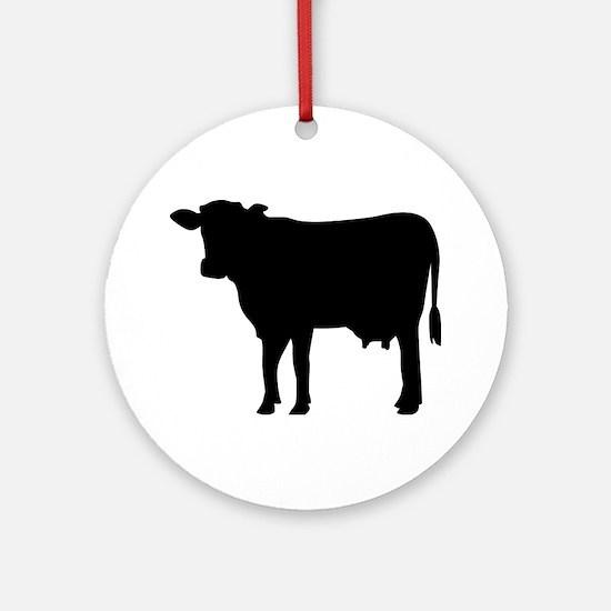 Black cow Ornament (Round)