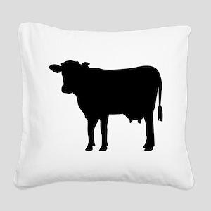 Black cow Square Canvas Pillow