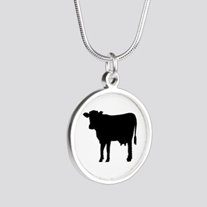 Black cow Silver Round Necklace