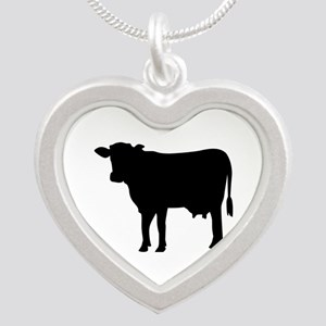 Black cow Silver Heart Necklace