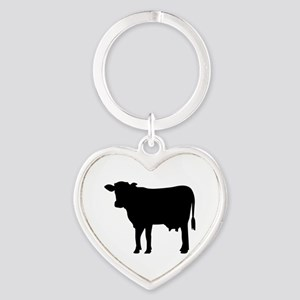 Black cow Heart Keychain