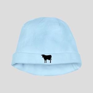 Black cow baby hat
