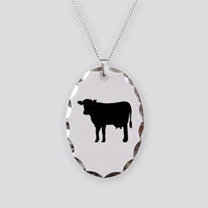 Black cow Necklace Oval Charm