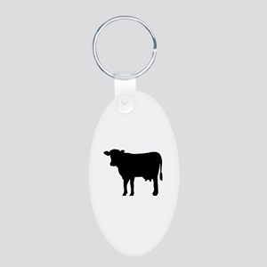 Black cow Aluminum Oval Keychain
