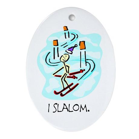 I Slalom Stick Figure Ceramic Ornament