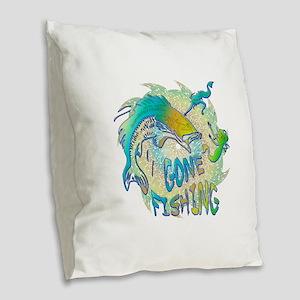 Gone Fishing 3 Burlap Throw Pillow