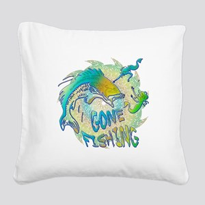 Gone Fishing 3 Square Canvas Pillow