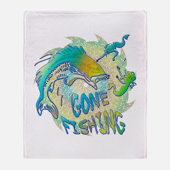 Gone Fishing 3 Throw Blanket