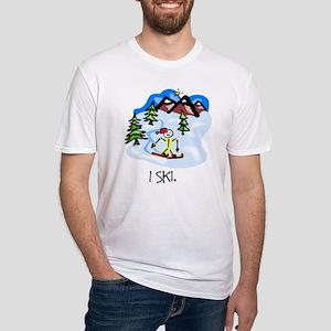 I Ski Stick Figure Fitted T-Shirt