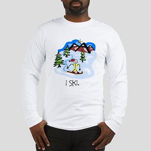 I Ski Stick Figure Long Sleeve T-Shirt