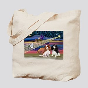 XmasStar/2 Cavaliers Tote Bag