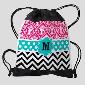 Pink Teal Black Chevron Damask Mono Drawstring Bag